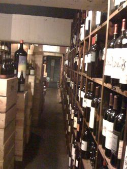 Long shot of wine room